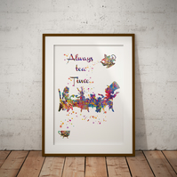 Mad Hatter Always Tea Time Watercolour Print Wall Art