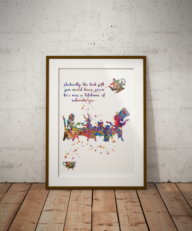 Mad Hatter Tea Party Quote Watercolour Print Wall Art
