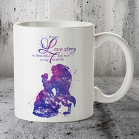 Beauty and Beast Disney Popular Love Story Quote 5 Mug Cup purple