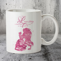 Beauty and Beast Disney Popular Love Story Quote 6 Mug Cup PINK