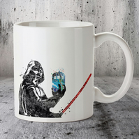 Darth Vader, Tardis, Star Wars Dr Who Mug, Watercolor Mug, Ceramic Mug