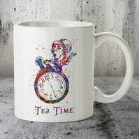 Mad Hatter Tea Time Alice in Wonderland Watercolour mug, wedding gift
