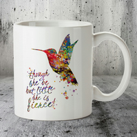 Hummingbird Watercolor Mug Art, Quote Art Print Watercolor Bird Print, Mug