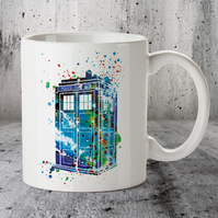 Tardis Dr Who Mug, Watercolor Tardis Mug, Watercolor Mug, Coffee Mug,
