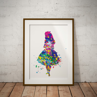 Alice in Wonderland Watercolor Art Print