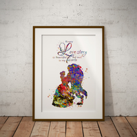 Beauty and Beast Love Quote Watercolor Print Wall Hanging Wall Art