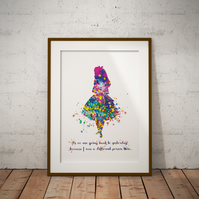 Alice in Wonderland Quote Watercolor Print Wall Hanging Wall Art Nursery Art