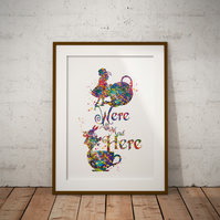 Alice in Wonderland We're All Mad Here 2 Watercolor Print Wall Hanging Wall Art