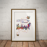 Alice in Wonderland Mad Hatter Tea Party Quote 1 Watercolor Print Wall Art