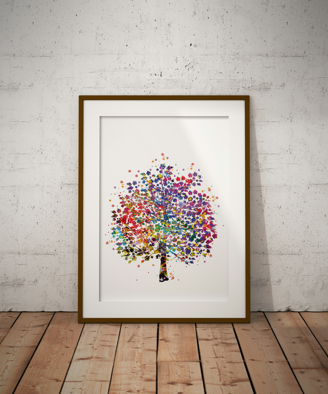 Tree Watercolour Print Wall Art