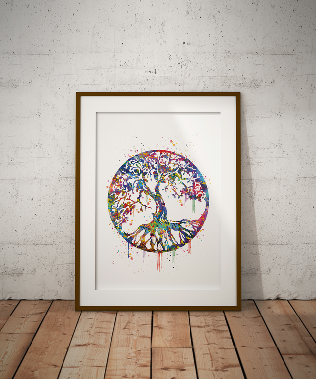 Tree Of Life Watercolour Print Wall Art