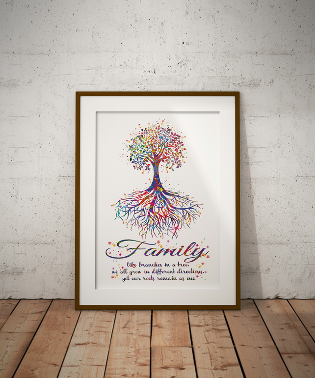 Tree Rooted Quote Watercolour Print Wall Art