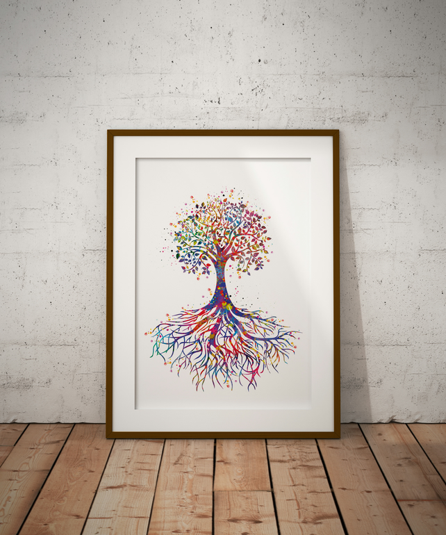 Tree Rooted Watercolour Print Wall Art