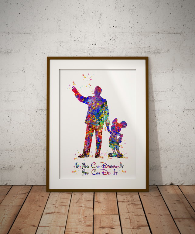 Walt Disney Quote Watercolour Print Wall Art