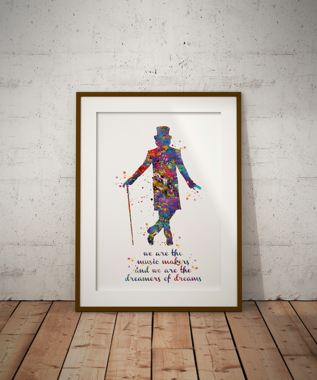 Willy Wonka Watercolour Print Wall Art