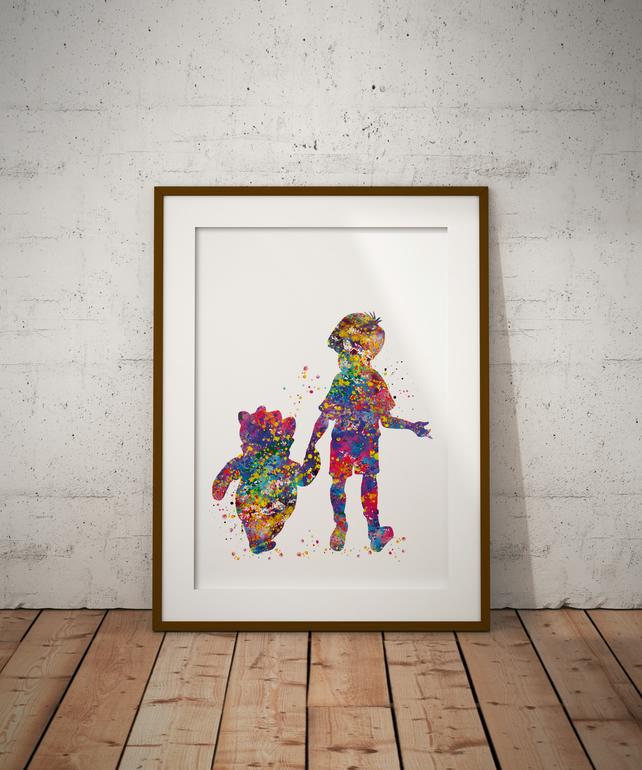 Winnie And Christopher Watercolour Print Wall Art