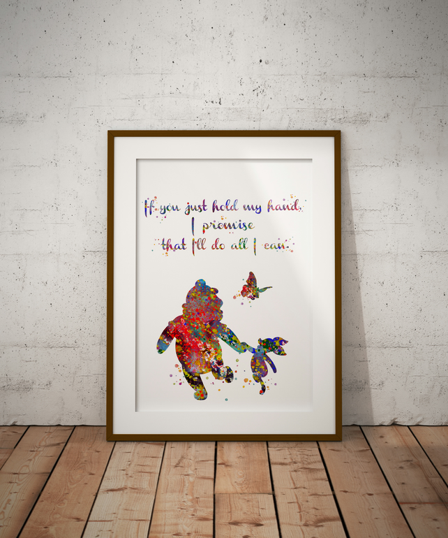 Winnie And Piglet Quote 2 Watercolour Print Wall Art