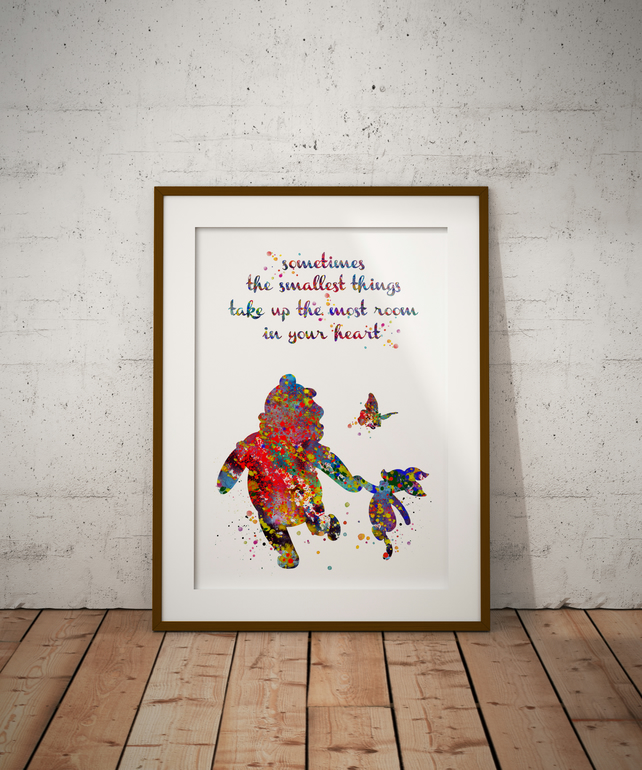 Winnie And Piglet Quote 3 Watercolour Print Wall Art