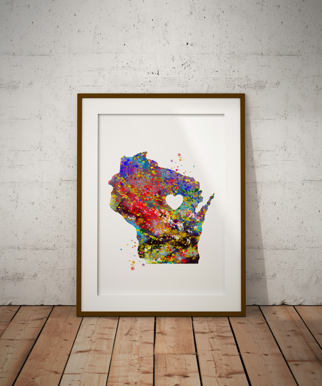 Wisconsin Watercolour Print Wall Art