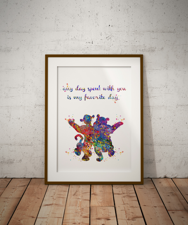 Winnie And Tigger Quote Watercolour Print Wall Art