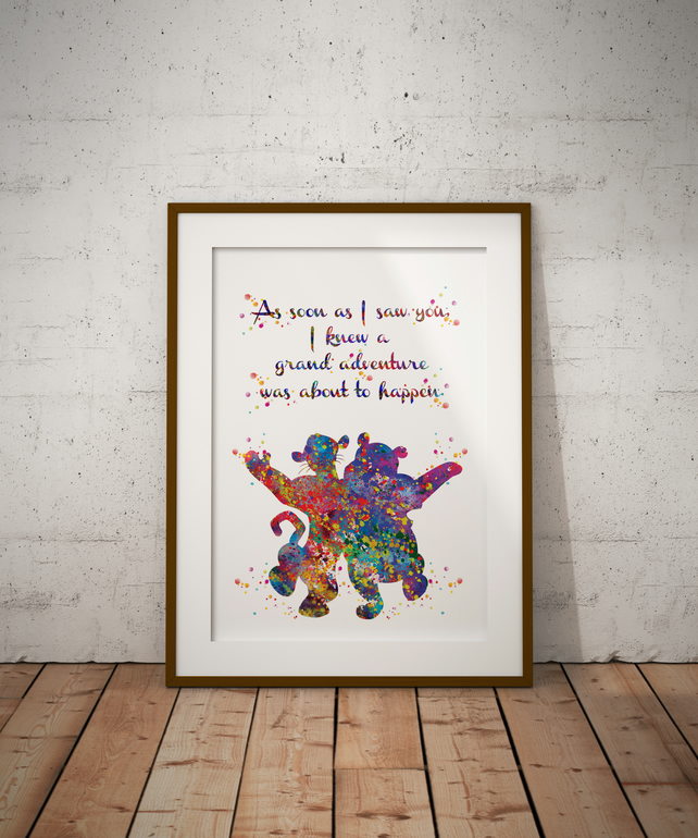 Winnie And Tigger Quote 2 Watercolour Print Wall Art