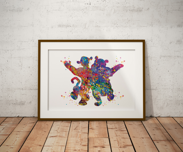 Winnie And Tigger Watercolour Print Wall Art
