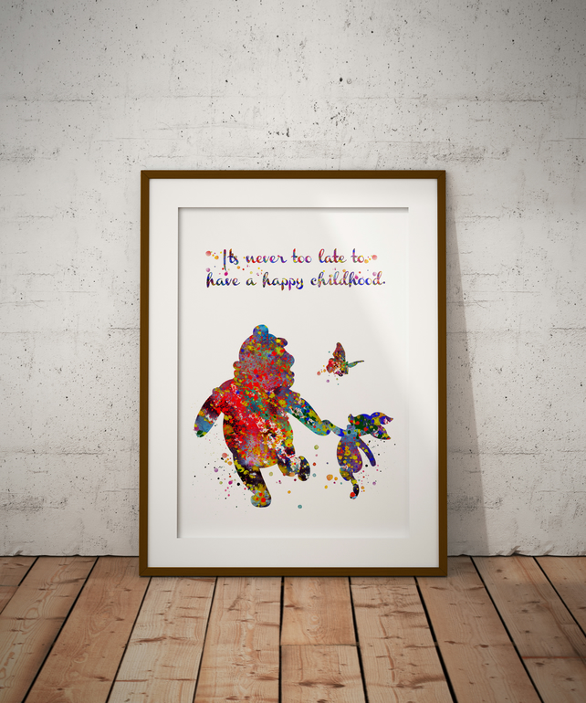 Winnie The Pooh Quote Watercolour Print Wall Art