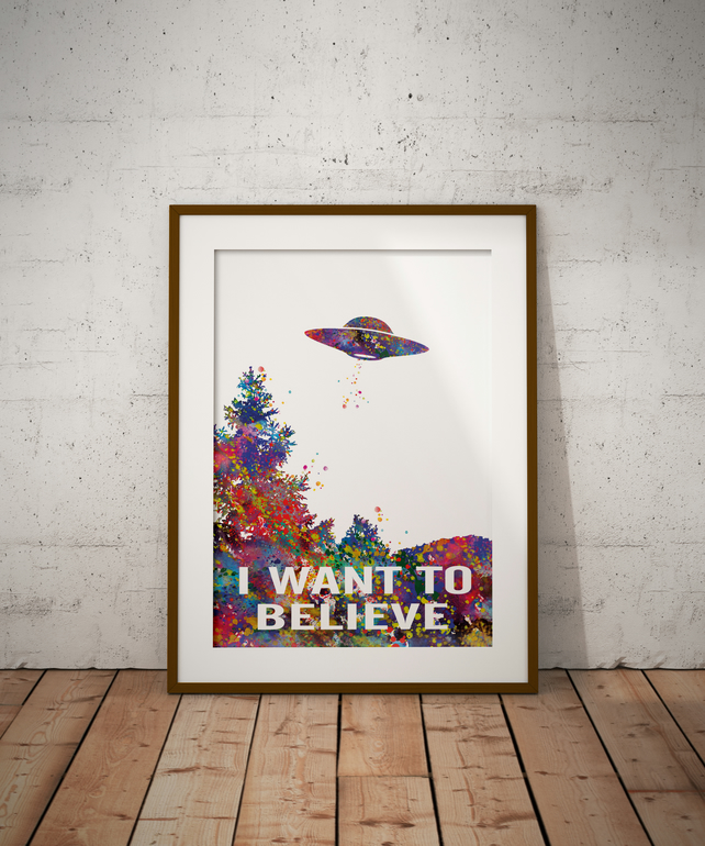 X Files Watercolour Print Wall Art