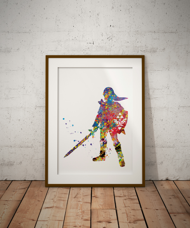 Zelda 3 Watercolour Print Wall Art