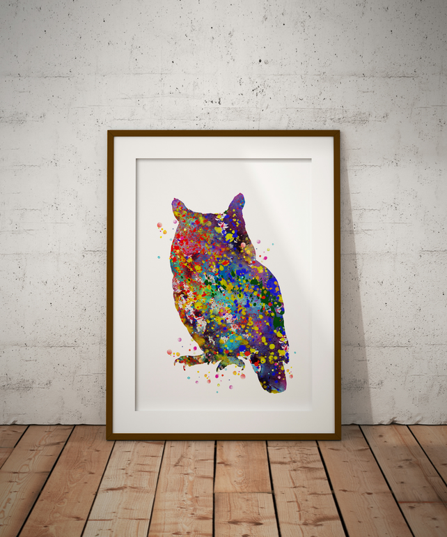 Owl 3 Watercolour Print Wall Art