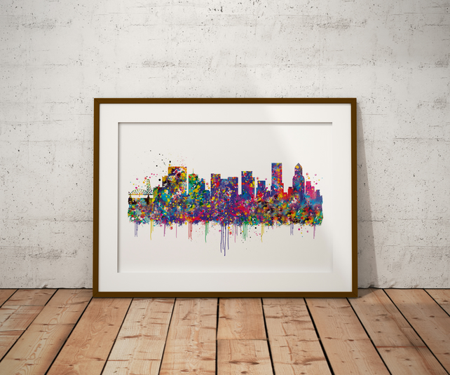 Oregon Portland Skyline Watercolour Print Wall Art