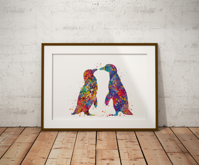 Penguins Watercolour Print Wall Art
