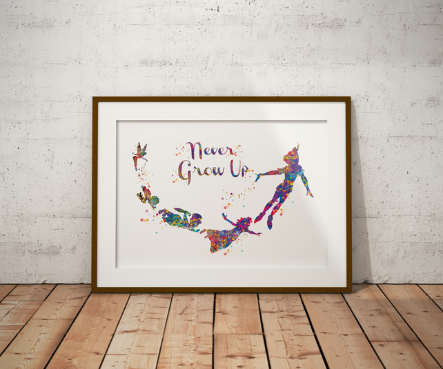 Peter Pan Never Grow Up Watercolour Print Wall Art