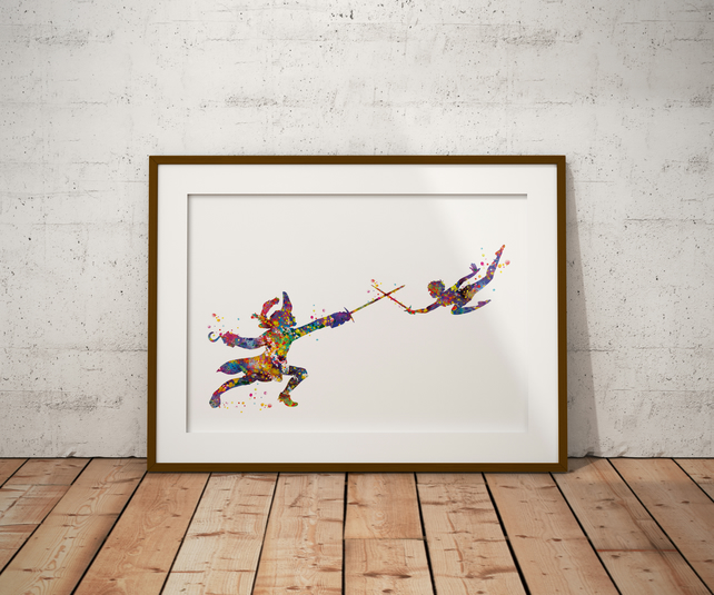 Peter Pan Captain Hook Watercolour Print Wall Art