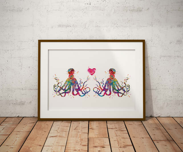 Octopus Love Watercolour Print Wall Art