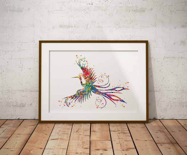 Phoenix Bird Watercolour Print Wall Art