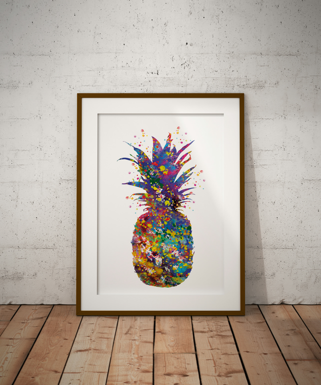 Pineapple Watercolour Print Wall Art
