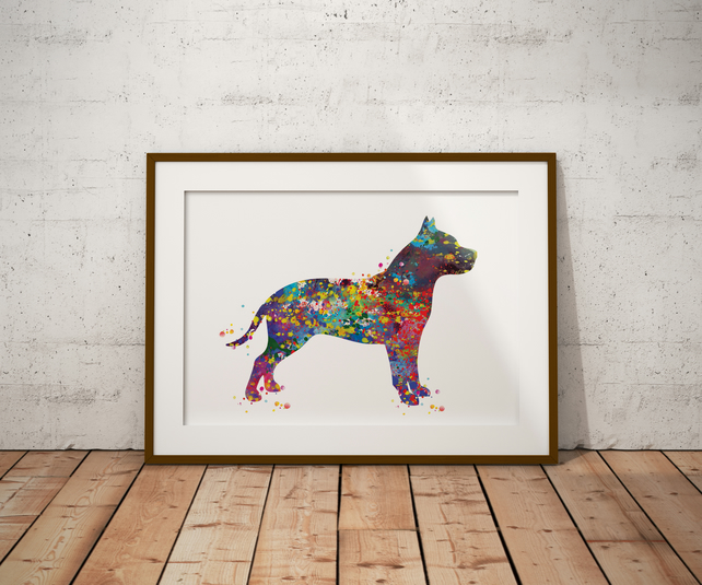 Pitbull Watercolour Print Wall Art