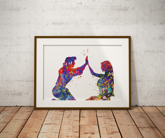Pocahontas Love Watercolour Print Wall Art