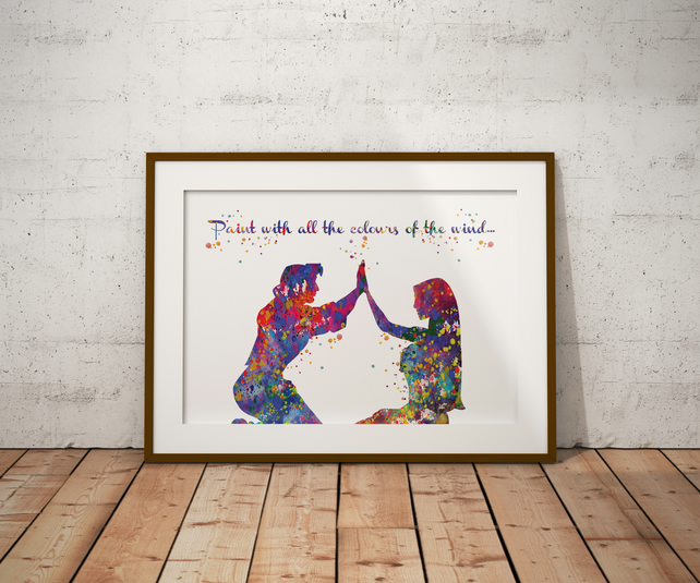 Pocahontas Love Quote Watercolour Print Wall Art