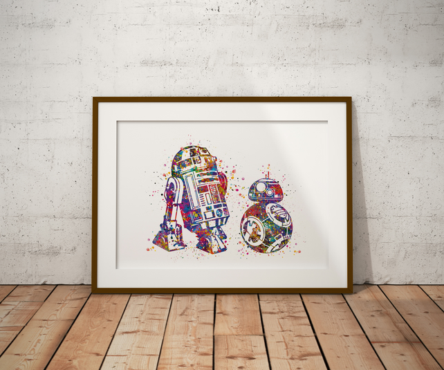 R2D2 And BB8 Watercolour Print Wall Art