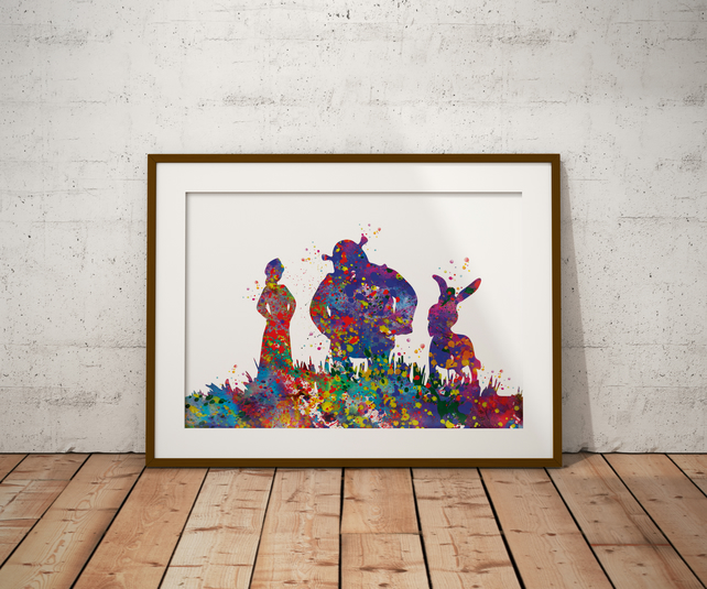 Shrek Watercolour Print Wall Art