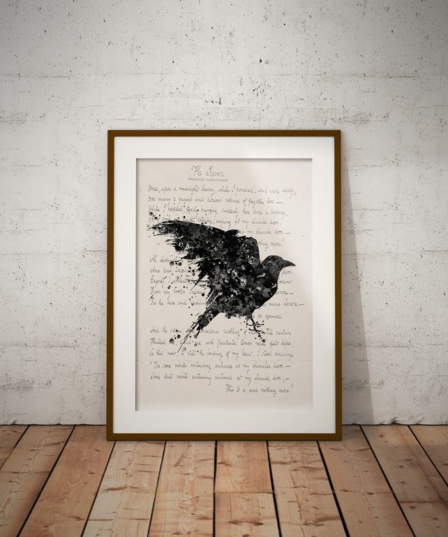 Raven Quote Watercolour Print Wall Art