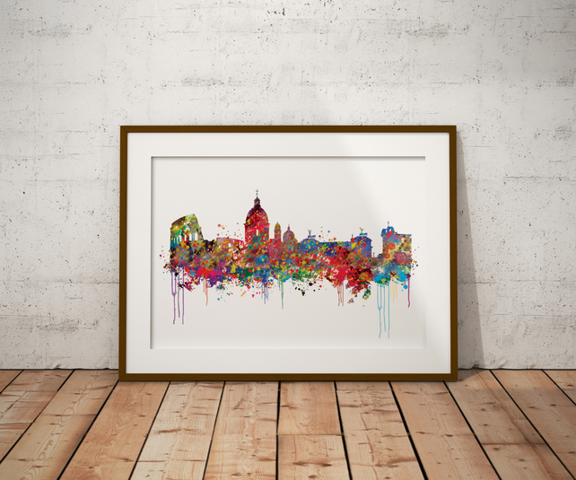 Rome Watercolour Print Wall Art