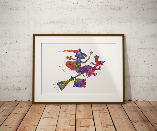 Room On The Broom Watercolour Print Wall Art