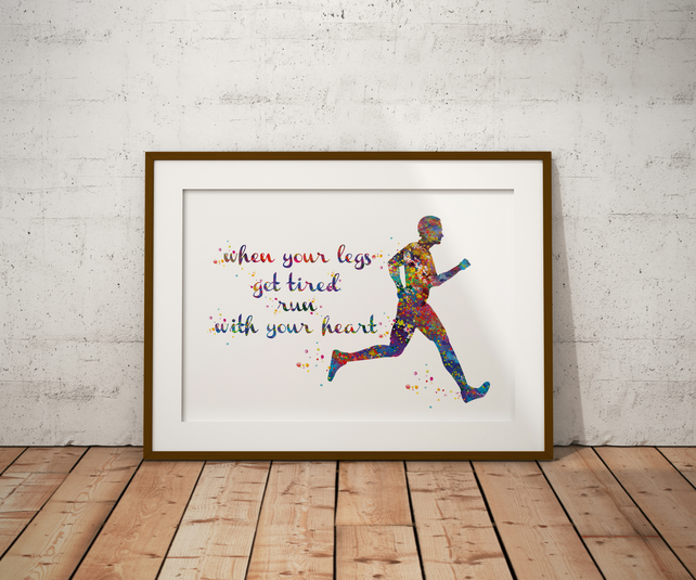 Runner Man Watercolour Print Wall Art