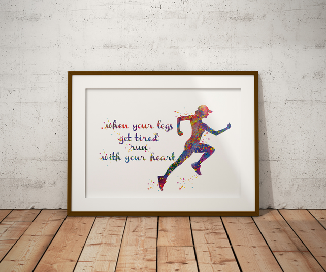 Runner Woman Watercolour Print Wall Art