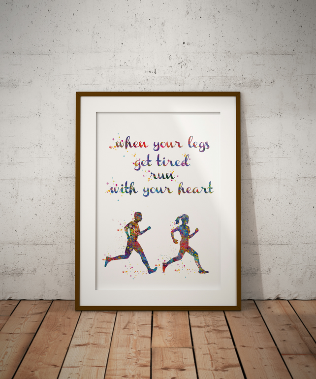 Runners Watercolour Print Wall Art