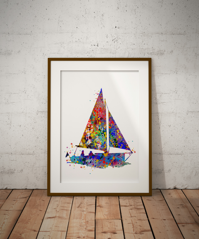 Sail Boat Watercolour Print Wall Art