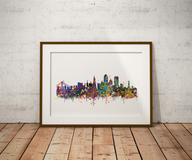 San Francisco Watercolour Print Wall Art